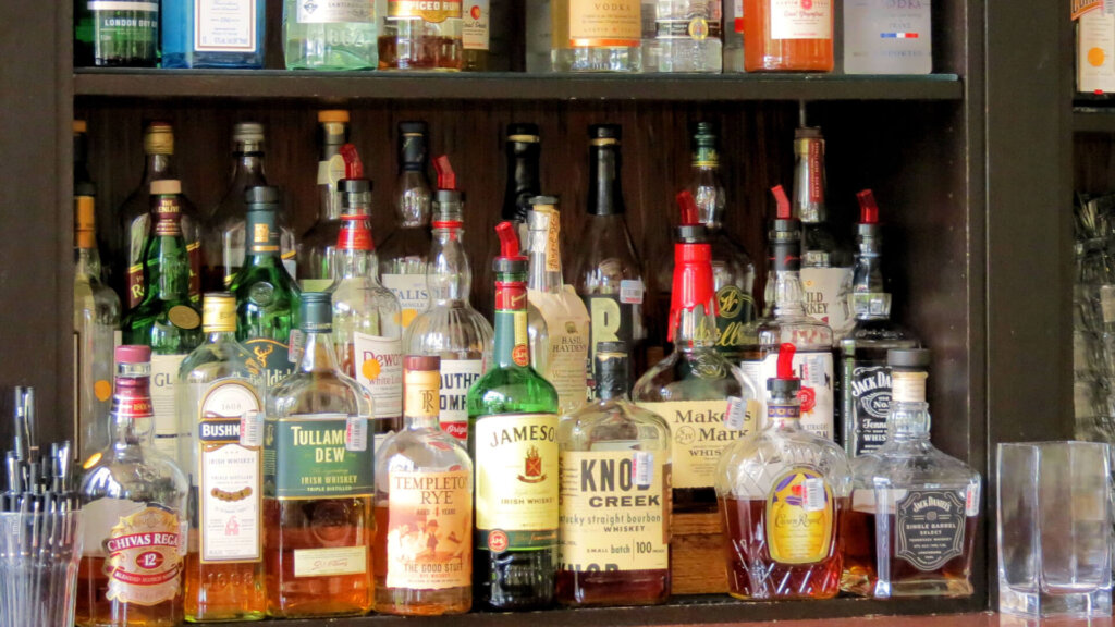 Heavy Drinking: Hard alcohol selection from bar.
