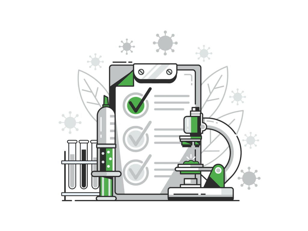 CBD Lab Analysis Clipboard and Lab Equipment