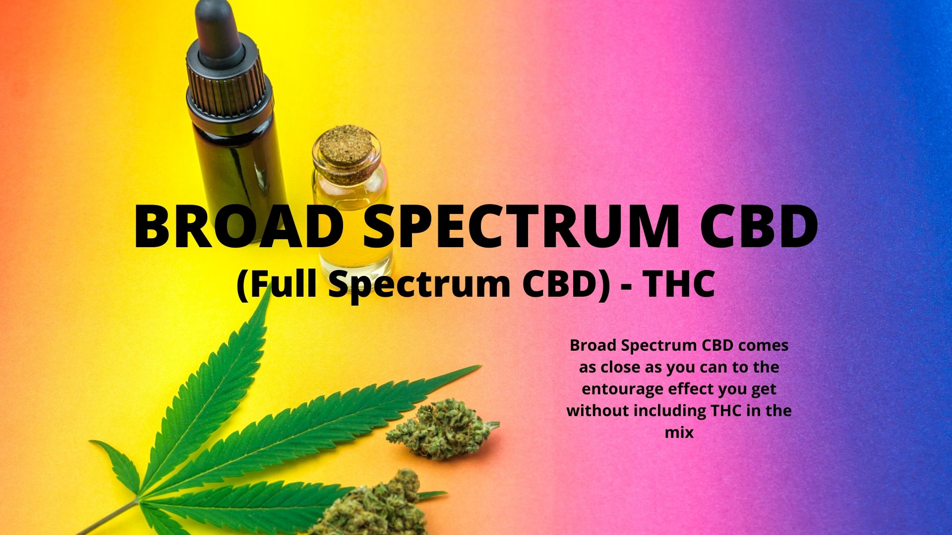 Broad Spectrum CBD: Full Spectrum CBD - THC. Broad Spectrum comes as close as you can to the entourage effect without including THC in the mix.