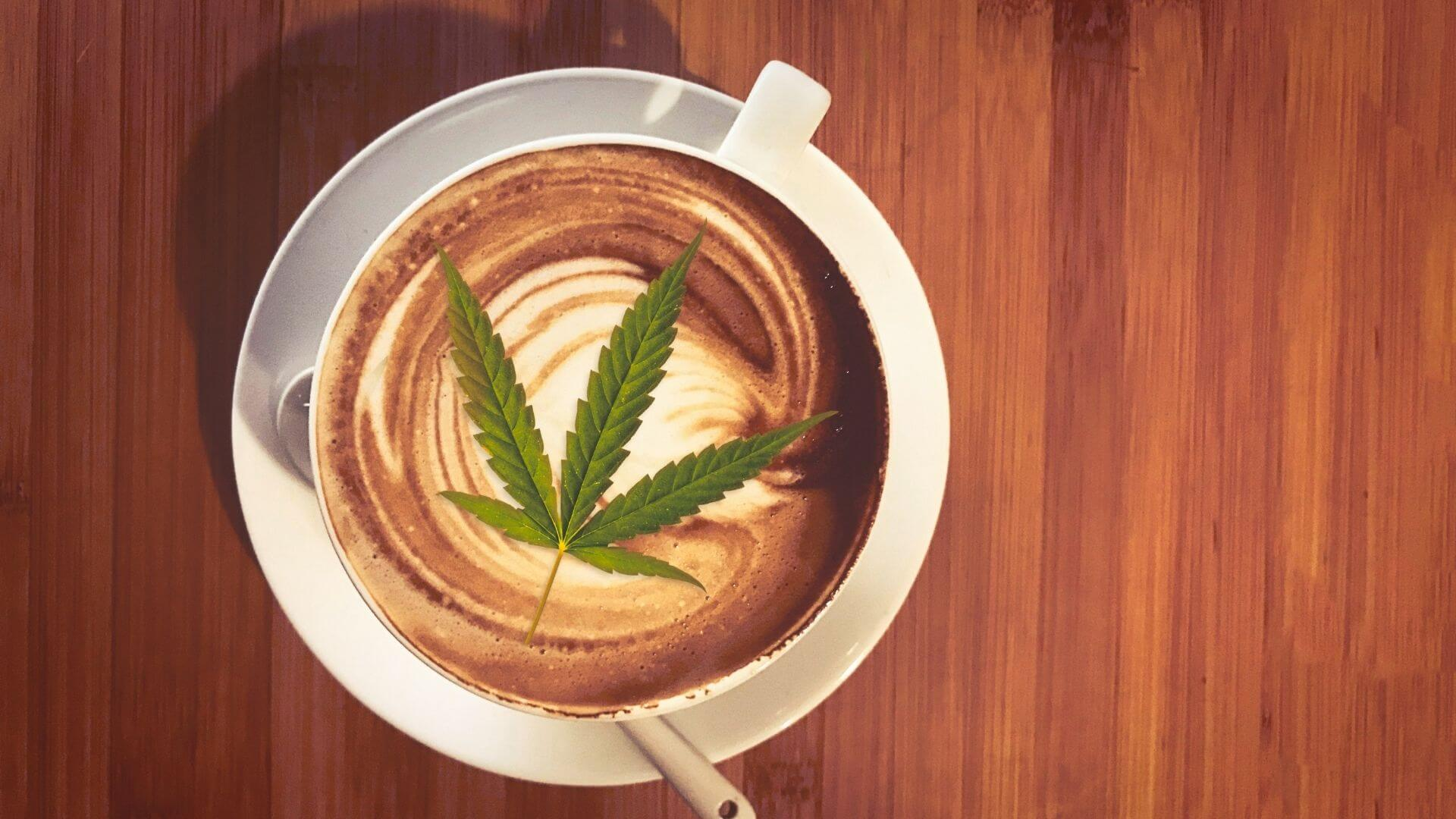 CBD-infused coffee with a hemp leaf on the top of the cup of coffee