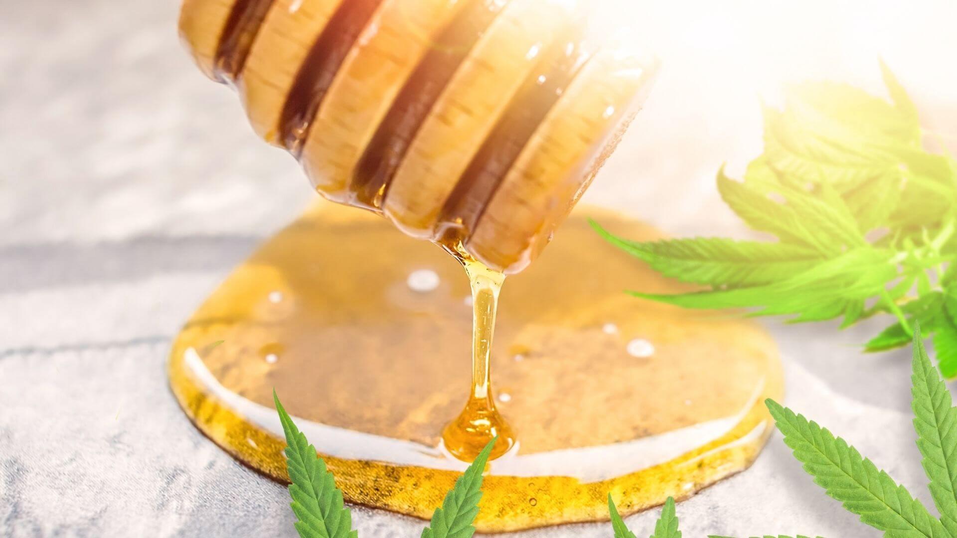 CBD Honey dropping on a surface representing CBD Edibles