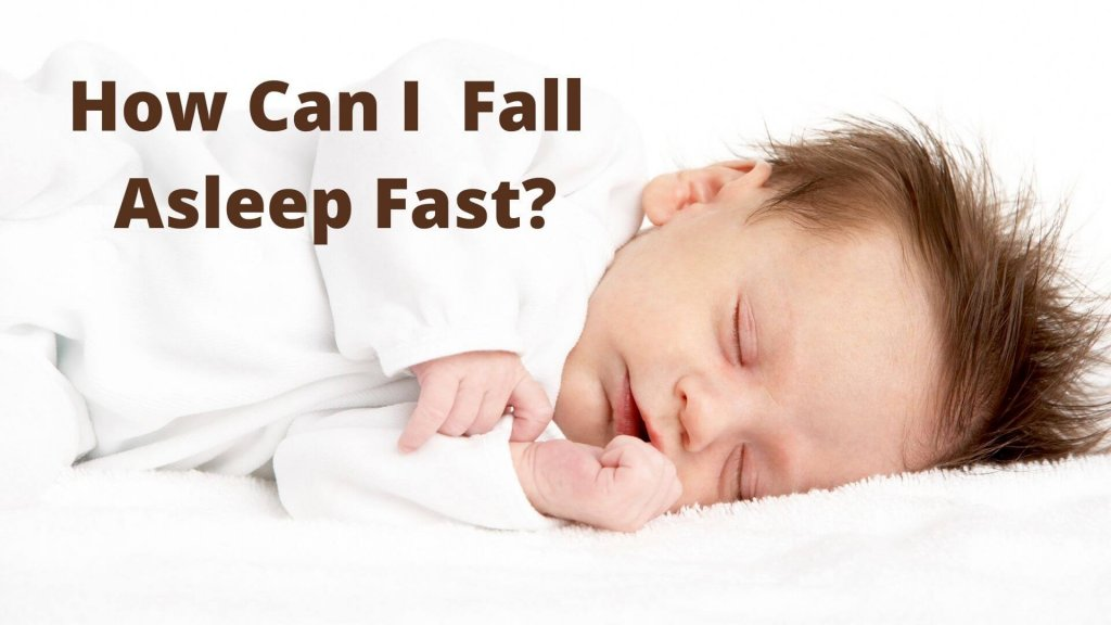 """Baby Sleeping with the words """"How can I fall asleep fast?"""" on top of image"""